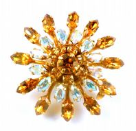 Vintage Atomic Flower Rhinestone Set Brooch.